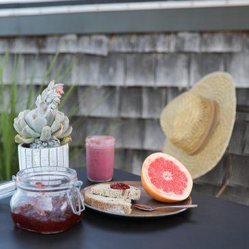 Grapefruit and toast breakfast